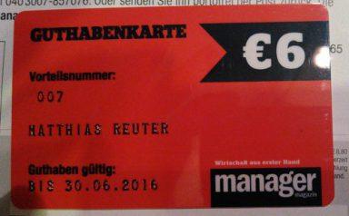nur echt mit 6-Euro-Guthabenkarte: Matthias Reuter, Manager